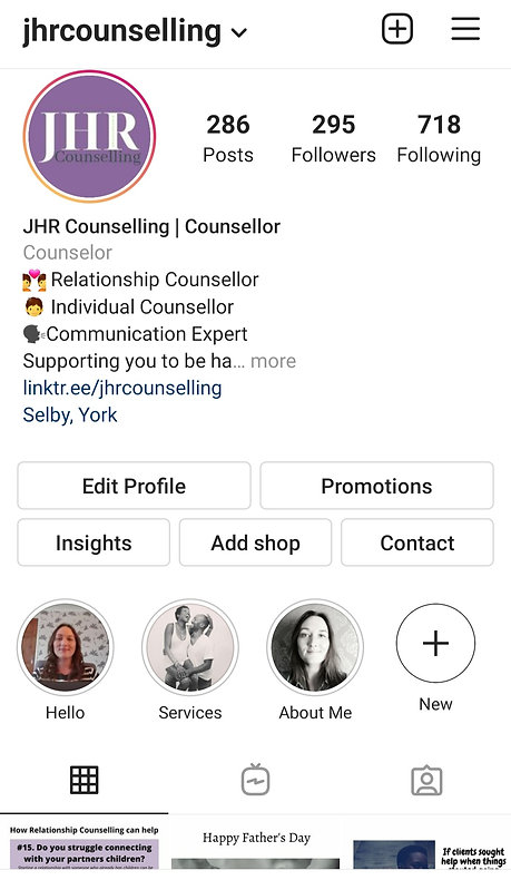 JHR Counselling Instagram