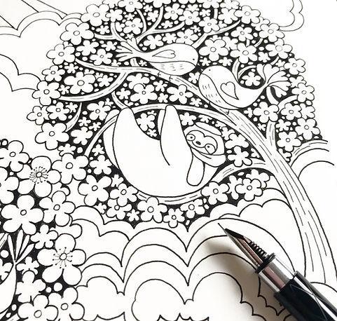 A Million Sloths Japanese pattern ink.jp