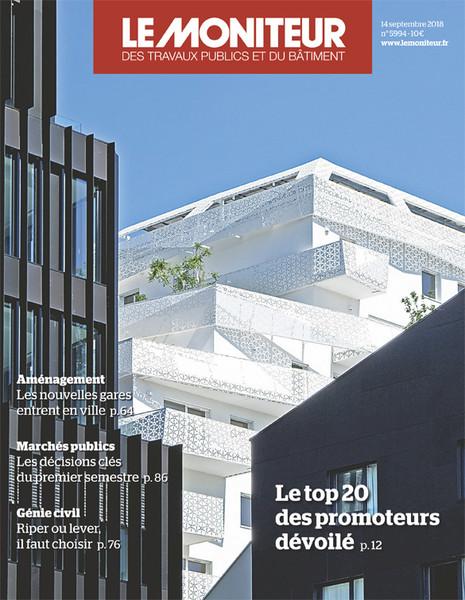L'opération de Clichy-Batignolles en couverture du Moniteur du 13/09/18.