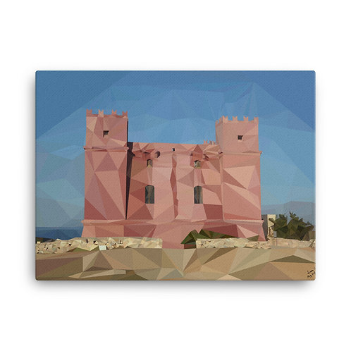 Red Tower Poly-Art On Canvas 24 x 18 - Liam C.
