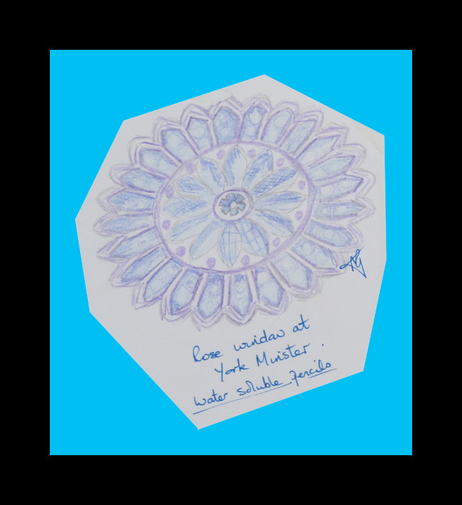 Rose window York Minster - water soluble pencils