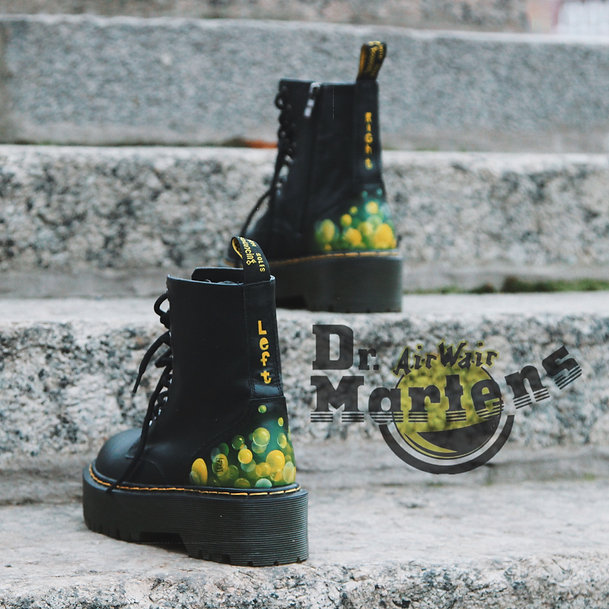 Martens custom shoes woodigram bubbles style