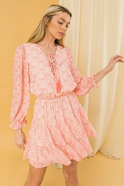 PINK/WHITE FLORAL DRESS