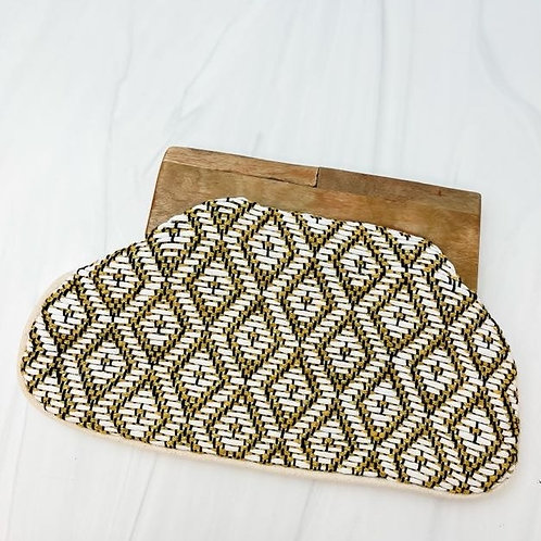 IVORY/GOLD WOVEN CLUTCH
