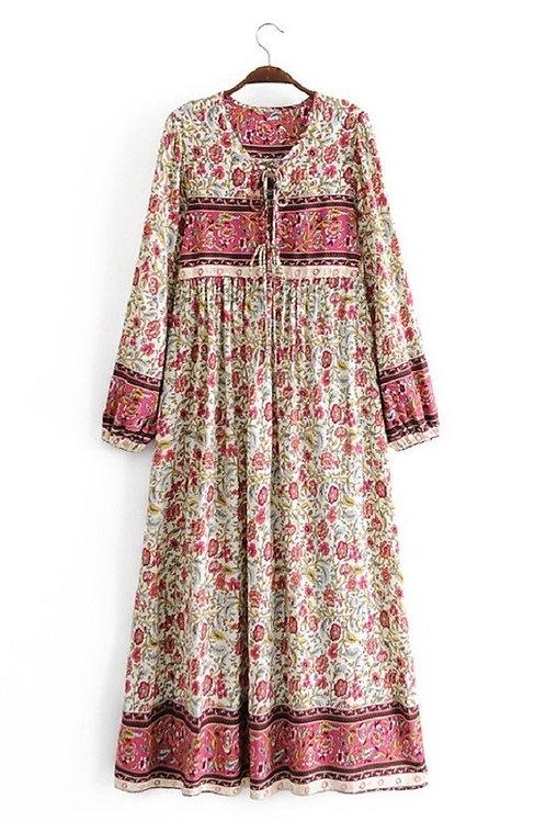FLORAL PRINTED FRINGED LONG SLEEVED DRESS
