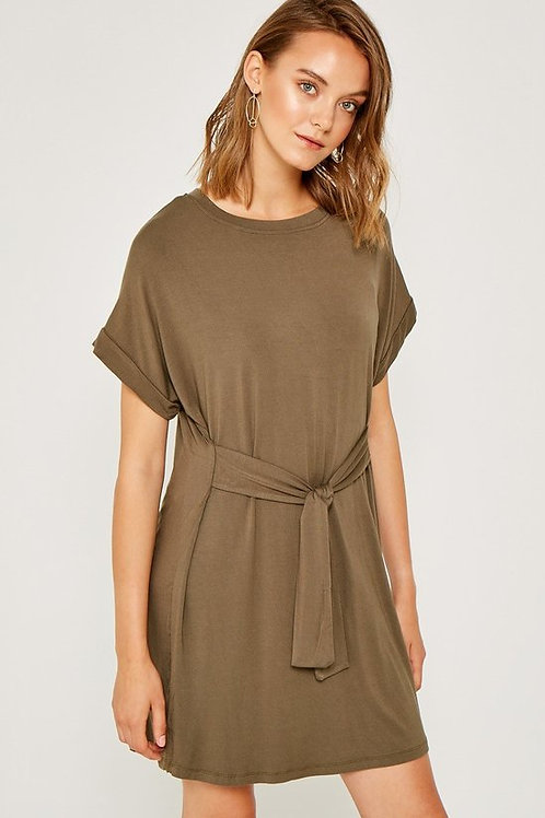 OLIVE T-SHIRT WRAP DRESS