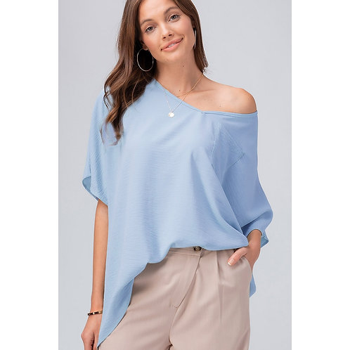BABY BLUE WOVEN OVERSIZED TOP