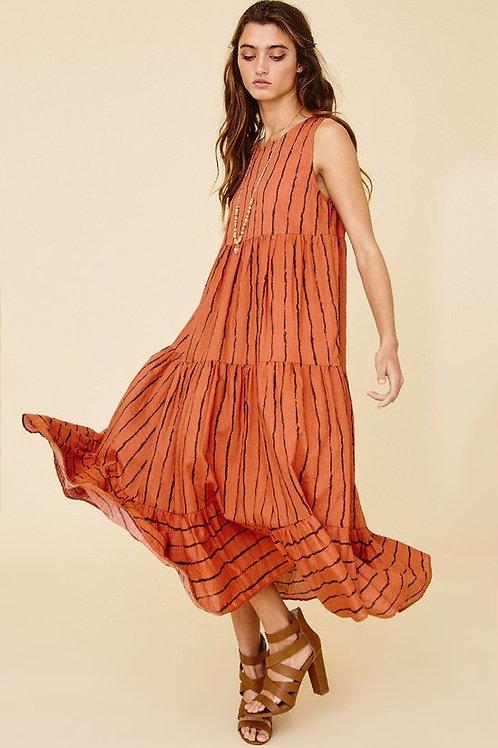RED/ORANGE STRIPE PRINT DRESS