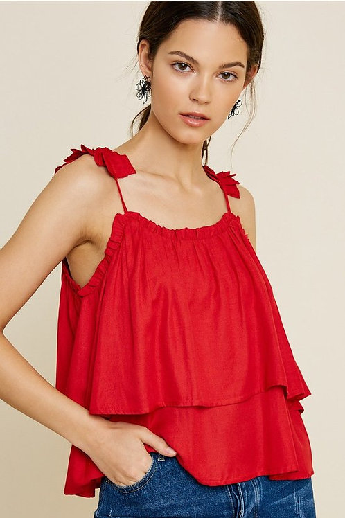 RED TIERED PLEATED STRAP TANK