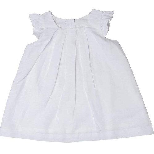 BOX PLEAT LINEN DRESS - WHITE
