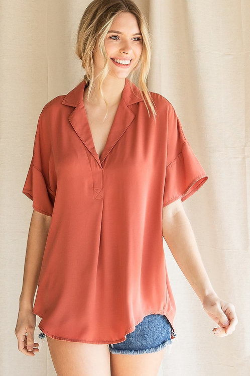 RUST COLLARED BLOUSE