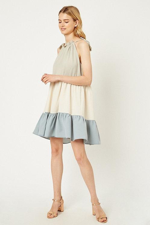 RUFFLE TIERED COLORBLOCK DRESS