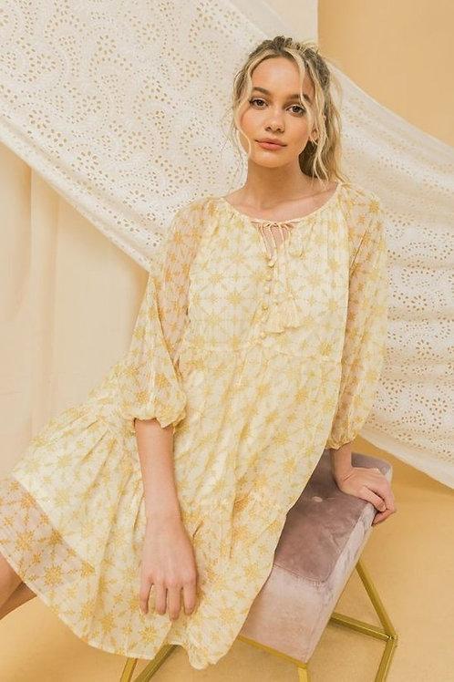 YELLOW FRONT-TIE DRESS