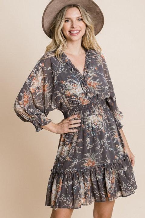 GREY PEPLUM DRESS