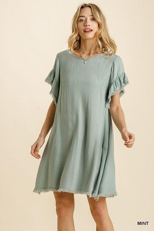 MINT FRAYED SLEEVES DRESS