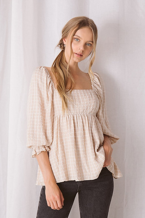 NUDE CHECKERED BABY DOLL TOP