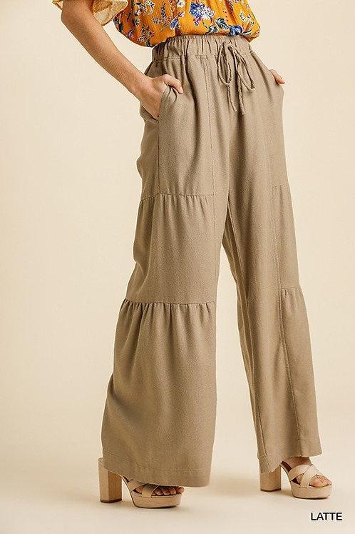 Linen Blend Side Tiered Wide Leg Pants