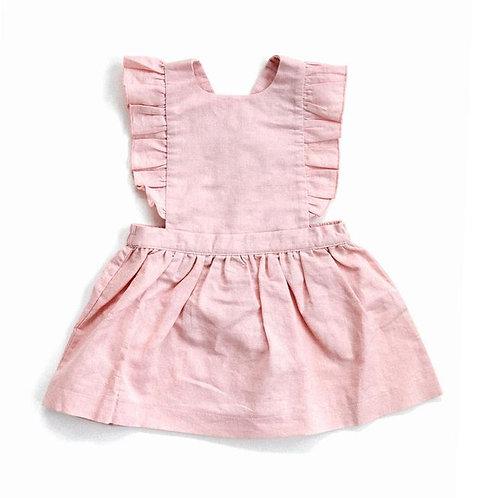 PINAFORE LINEN DRESS - PINK/GREY