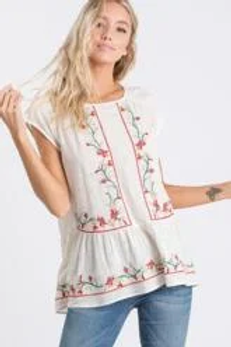 WHITE EMBROIDERED FLORAL TOP