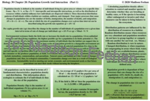 Biology 30 Chapter 20 Charts