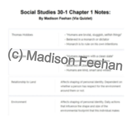 Social Studies 30-1 Chapter 1 Notes
