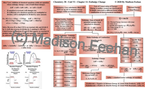 Chemistry 30 Chapter 11 Chart