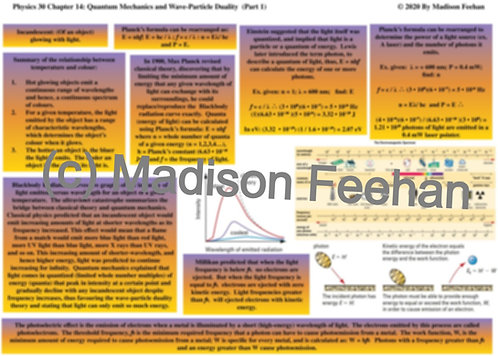 Physics 30 Chapter 14 Charts