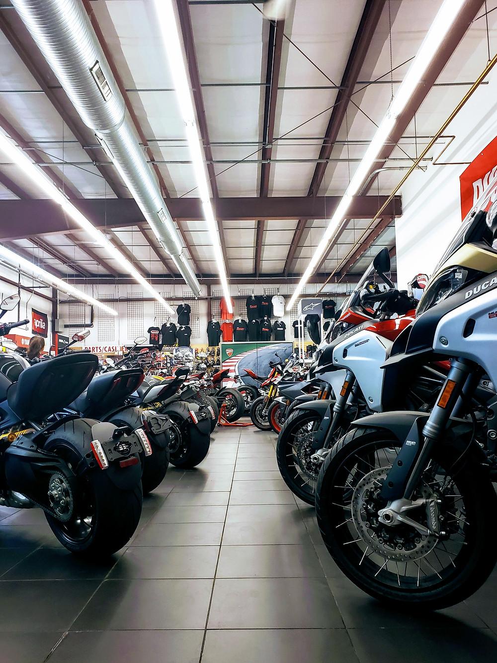 Image of motorcycle dealership showroom