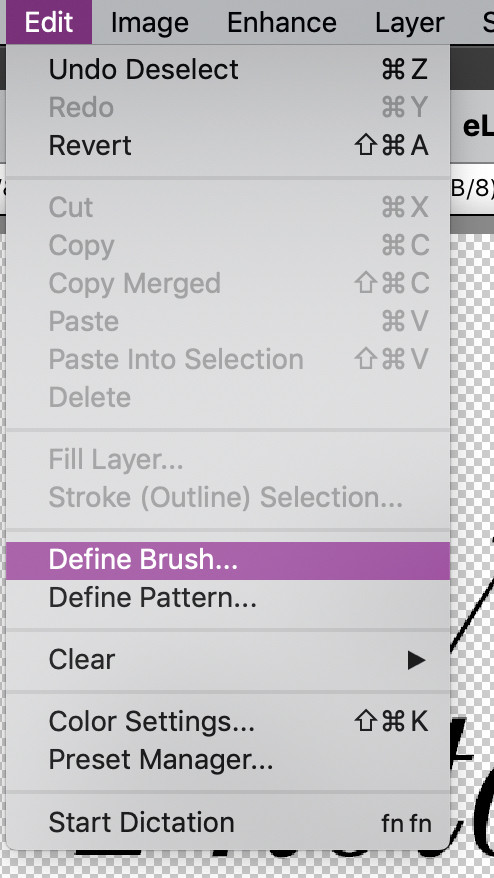 Edit - Define Brush Menu in Photoshop