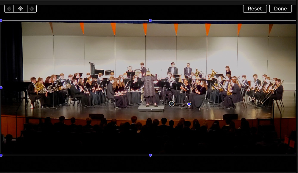 A photograph of Shawnee Mission Northwest Wind Ensemble after cropping in using Final Cut Pro