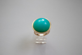 14kt Gold and Silver Blue Calcidony Ring $800
