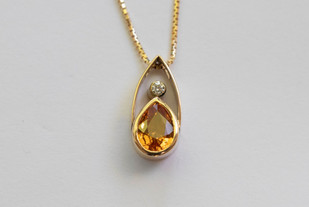 14kt Gold Teardrop Spessartite Garnet and Diamond Pendant with Chain 1.47 cts. $2400