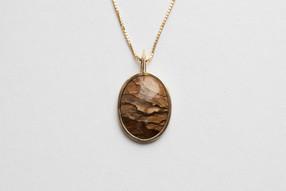 14kt Gold Oval Picture Jasper Pendant Price: $1100
