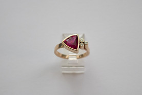 14kt Gold Trillion Cut Red Tourmaline w/ Diamond Cluster Price: $1450