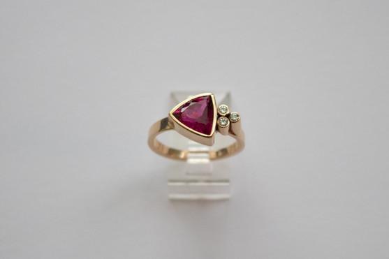 14kt Gold Trillion Cut Red Tourmaline w/ Diamond Cluster Price: $1450