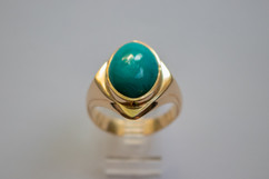 14kt Gold Men's oval Chrysocolla ring. Cast. Price: $1600