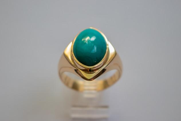 14kt Gold Men's oval Chrysocolla ring. Cast. Price: $1600