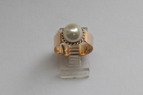 14kt Gold Pearl Ring (Wide Band, 8.50mm) Price: $800