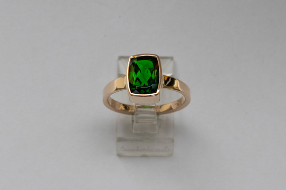 14kt Gold Cushion Cut Chrome Diopside Ring Stone Weight: 2.56 cts Price: $950