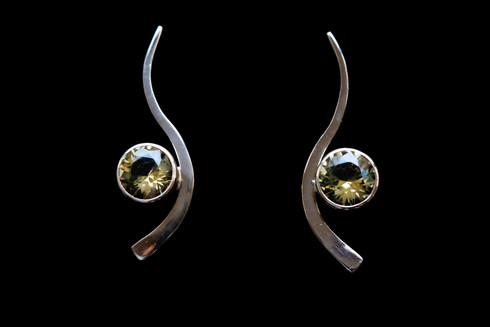 14kt Gold Forged Earrings With Hand Cut Citrine Price: $1600