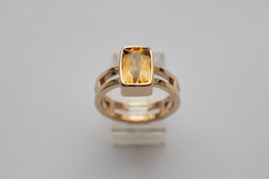 14kt Gold Rectangular/Cushion Cut Imperial Topaz Ring with Double Band Stone weight: 2.60 cts Price: $1800