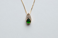 14kt Gold Teardrop Tsavorite & Diamond Pendant Stone Weight: 1.05 cts Price: $1800