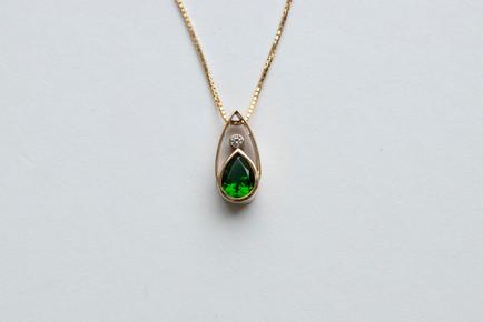 14kt Gold Teardrop Tsavorite & Diamond Pendant Stone Weight: 1.05 cts Price: $1800