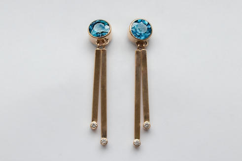 14kt Gold Round Aquamarine and Diamond Dangler Earrings Stone weight: 3.35 cts Price: $2300