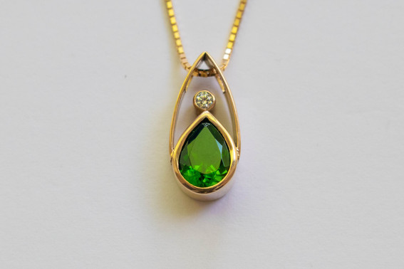 14kt Gold Teardrop Tsavorite Garnet and Diamond Pendant and Chain (Rare) 1.05 cts. $1800
