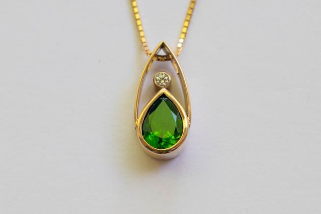 14kt Gold Teardrop Tsavorite Garnet and Diamond Pendant and Chain (Rare) 1.05 cts. $1800