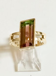 14kt. gold parallelogram cut  bi-colored tourmaline ring. (6.79cts)             Price: $1600.