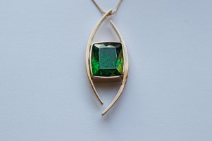 14kt Gold Forged Pendant with Large Cushion Cut Green Tourmaline Stone weight: 15.29 cts Price: $3500