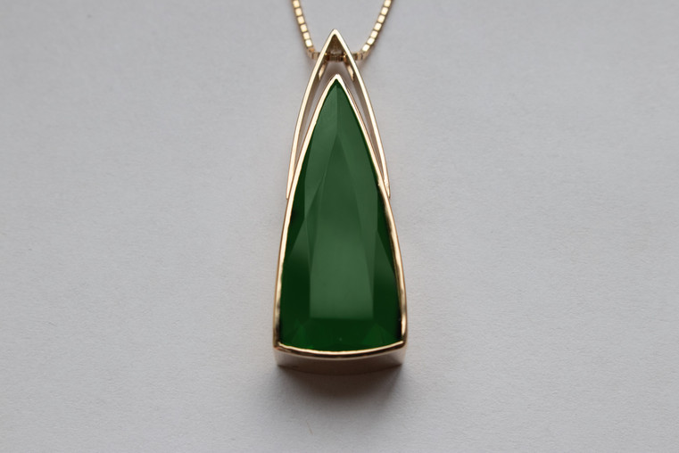 14kt Gold Large Triangular Green Tourmaline Pendant and Chain Stone weight: 9.18 cts Price: $3500