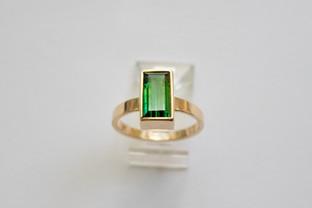 14kt Gold Rectangular Cut Blue-Green Tourmaline Ring 2.83 cts. $1200